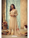 Light Beige Pure Chinnon Designer Straight Suit
