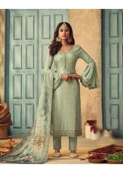 Sea Green Pure Chinnon Designer Straight Suit