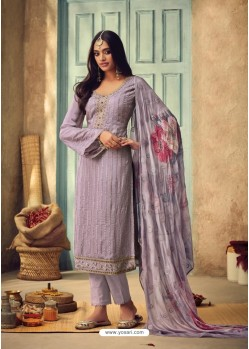 Mauve Pure Chinnon Designer Straight Suit