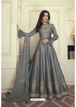 Grey Heavy Maslin Silk Designer Anarkali Suit
