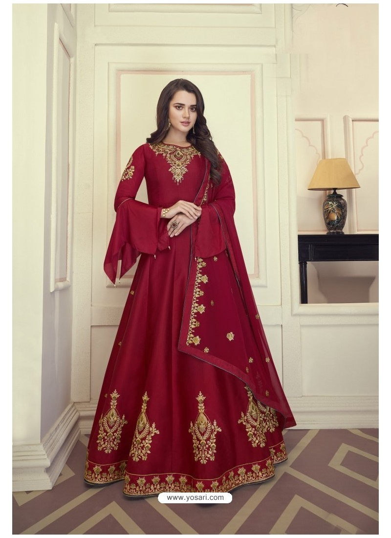 Red Heavy Maslin Silk Designer Anarkali Suit