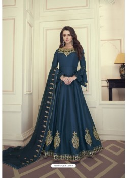 Navy Blue Heavy Maslin Silk Designer Anarkali Suit