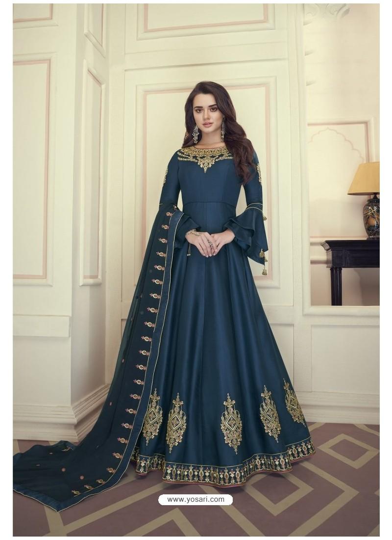 Navy Blue Heavy Maslin Silk Designer Anarkali Suit