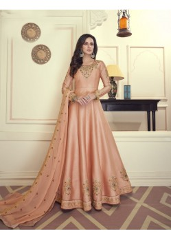 Peach Heavy Maslin Silk Designer Anarkali Suit