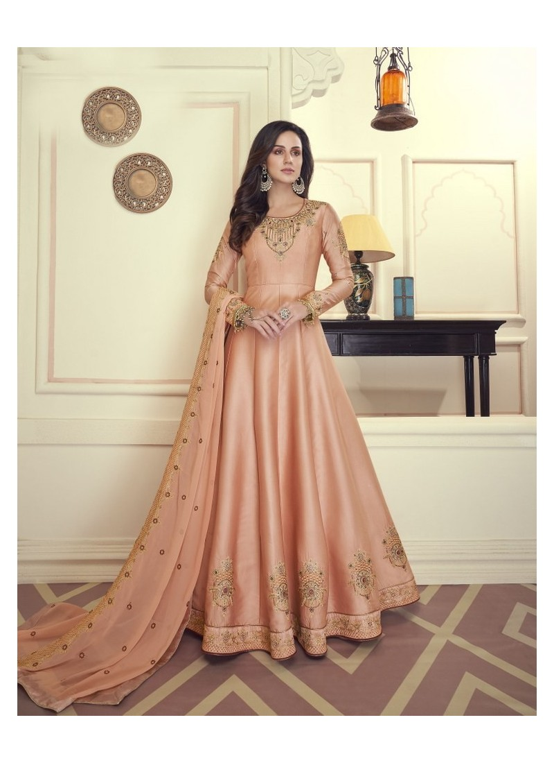 Peach Heavy Maslin Silk Designer Anarkali Suit