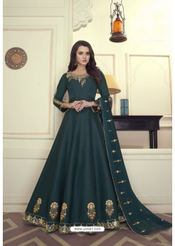 Dark Green Heavy Maslin Silk Designer Anarkali Suit