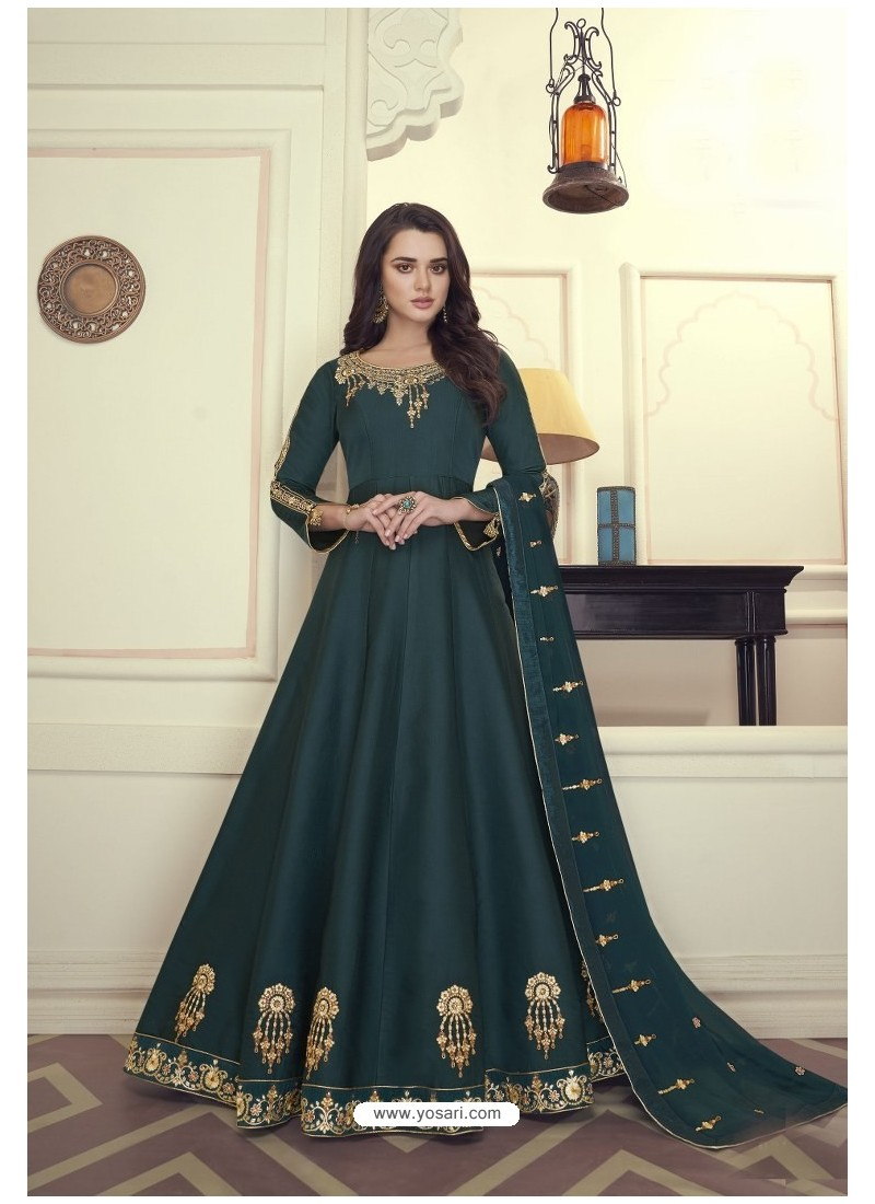 Dark Green Heavy Maslin Silk Designer Anarkali Suit
