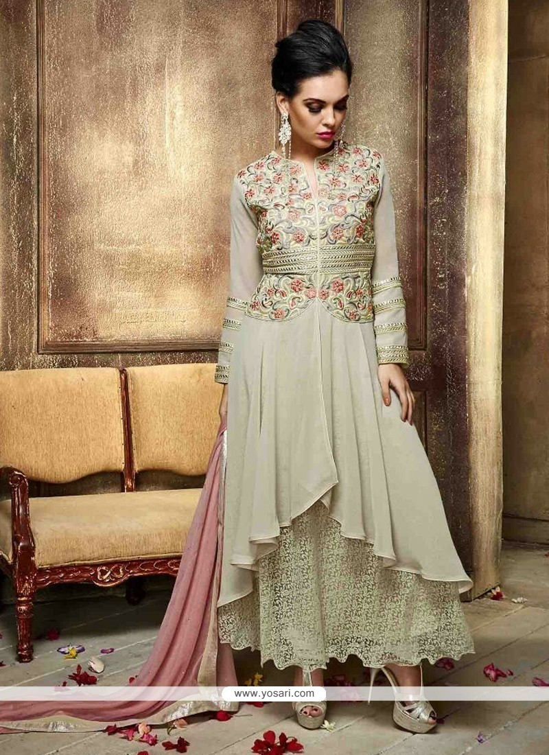 Demure Georgette Embroidered Work Anarkali Salwar Kameez