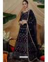 Navy Blue Net Embroidered Designer Lehenga Choli