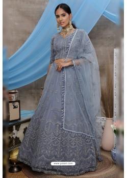 Grey Net Embroidered Designer Lehenga Choli