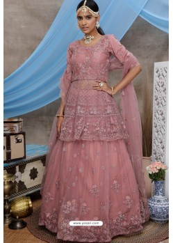 Peach Net Embroidered Designer Lehenga Choli