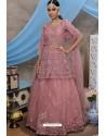 Peach Net Embroidered Designer Lehenga Choli