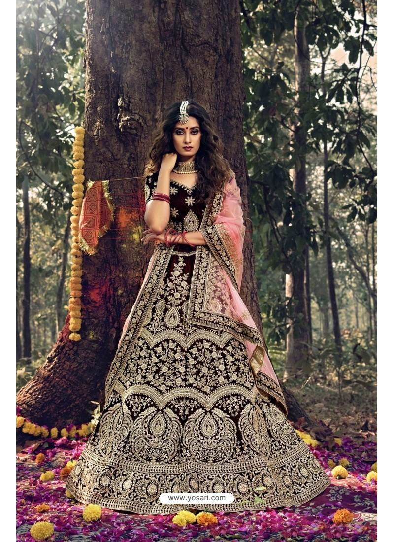Maroon Pure Velvet Designer Wedding Wear Lehenga Choli