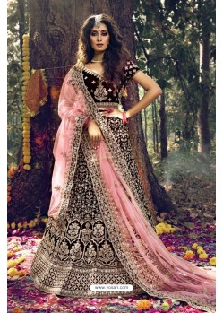 Latest Maroon Pure Velvet Designer Wedding Wear Lehenga Choli