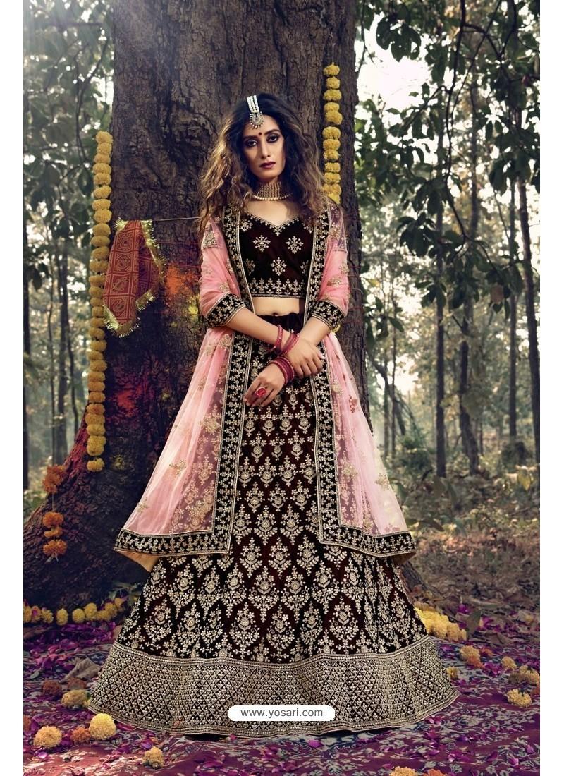 Pretty Maroon Pure Velvet Designer Wedding Wear Lehenga Choli