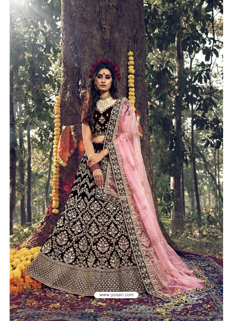 Elegant Maroon Pure Velvet Designer Wedding Wear Lehenga Choli