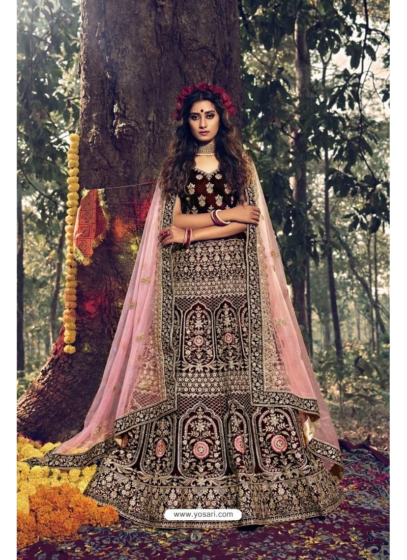 Gorgeous Maroon Pure Velvet Designer Wedding Wear Lehenga Choli