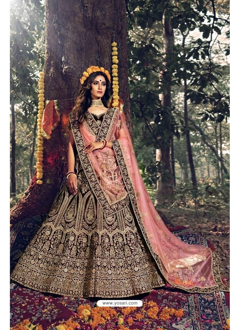 Amazing Maroon Pure Velvet Designer Wedding Wear Lehenga Choli