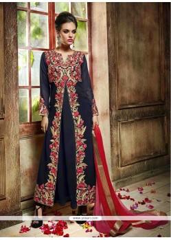 Sophisticated Resham Work Navy Blue Georgette Anarkali Salwar Kameez