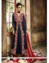Sophisticated Resham Work Navy Blue Georgette Anarkali Salwar Kameez
