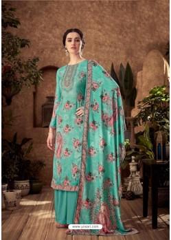 Aqua Mint Designer Pure Viscose Velvet Palazzo Suit