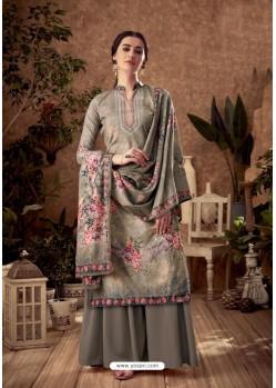 Grey Designer Pure Viscose Velvet Palazzo Suit