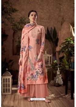 Peach Designer Pure Viscose Velvet Palazzo Suit