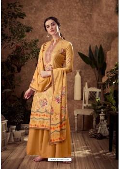 Yellow Designer Pure Viscose Velvet Palazzo Suit