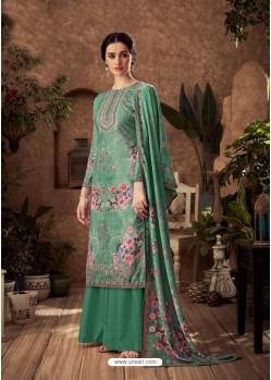 Teal Designer Pure Viscose Velvet Palazzo Suit