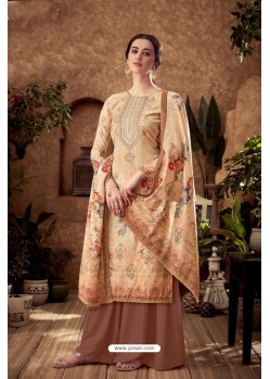 Light Beige Designer Pure Viscose Velvet Palazzo Suit