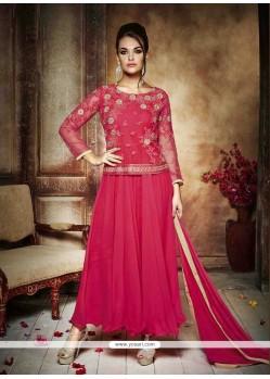 Perfervid Net Hot Pink Resham Work Anarkali Salwar Kameez