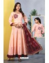 Peach Heavy Designer Readymade Kurti With Dupatta