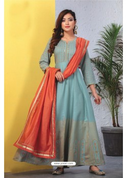 Turquoise Heavy Designer Readymade Kurti With Dupatta