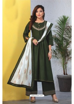 Dark Green Heavy Designer Readymade Kurti With Dupatta