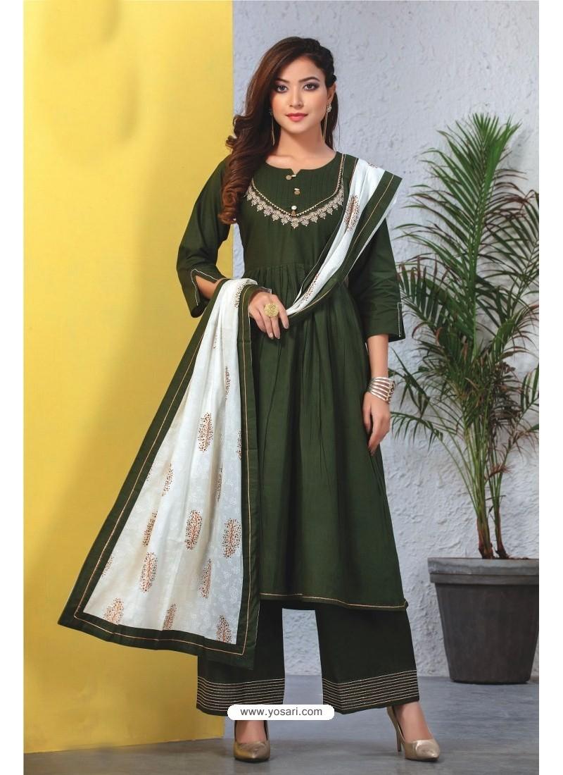 Dark Green Heavy Designer Readymade Kurti With Dupatta