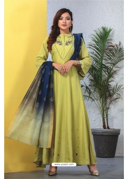 Sea Green Heavy Designer Readymade Kurti With Dupatta