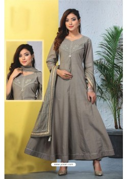 Grey Heavy Designer Readymade Kurti With Dupatta