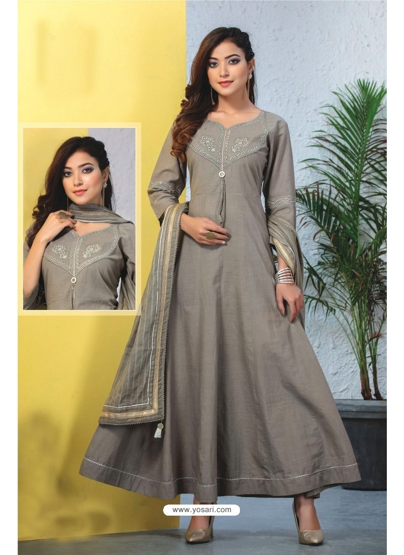 Grey Heavy Designer Readymade Kurti With Dupatta