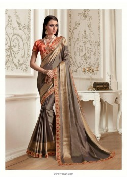 Beige Georgette Latest Designer Saree