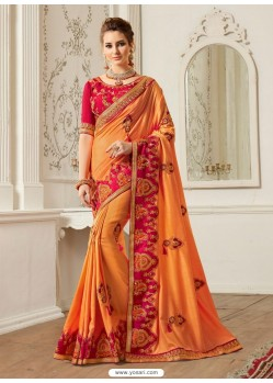 Orange Georgette Latest Designer Saree