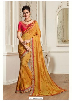Beautiful Yellow Georgette Latest Designer Saree