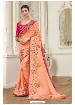 Peach Georgette Latest Designer Saree