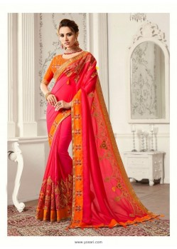 Rani Pink Georgette Latest Designer Saree