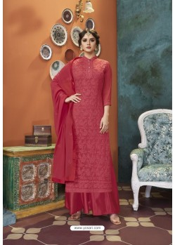 Red Heavy Faux Georgette Readymade Palazzo Suit