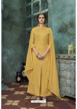 Yellow Heavy Faux Georgette Readymade Palazzo Suit