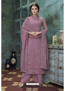 Lavender Heavy Faux Georgette Readymade Palazzo Suit