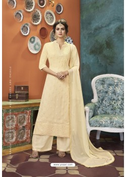 Cream Heavy Faux Georgette Readymade Palazzo Suit