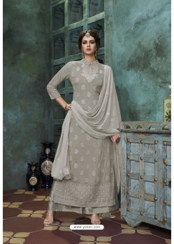 Grey Heavy Faux Georgette Readymade Palazzo Suit