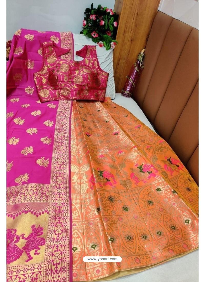 Fuchsia And Orange Banarasi Silk Lehenga Choli