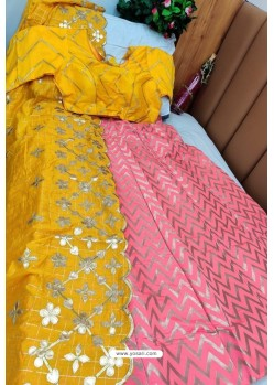 Yellow And Pink Banarasi Silk Lehenga Choli